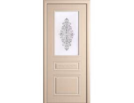 Двери межкомнатные Cordondoor Фрезерованные двери Рим Беленый дуб ст. Рим светлое+шелкография серебро