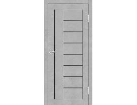 Двери межкомнатные Cordondoor Экошпон Турин 7 Бетон светлый ст. Черный лак