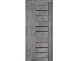 Двери межкомнатные Cordondoor Экошпон Турин 7 Бетон темный ст. Черный лак