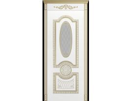 Двери межкомнатные Cordondoor Эмаль ГАРМОНИЯ B3 Белая Эмаль патина белое золото ст. Шелкография