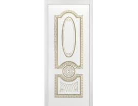 Двери межкомнатные Cordondoor Эмаль ГАРМОНИЯ B3 ДГ Белая Эмаль патина белое золото