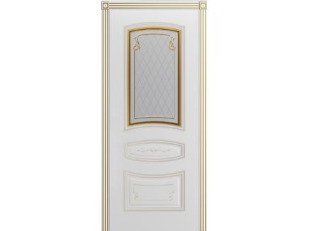 Двери межкомнатные Cordondoor Эмаль СОНАТА ГРЕЙС В2 Белая эмаль патина белое золото ст. Узор 2