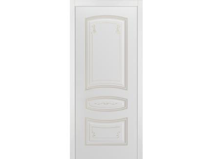 Двери межкомнатные Cordondoor Эмаль СОНАТА ГРЕЙС В2 ДГ Белая эмаль патина белое золото