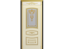 Двери межкомнатные Cordondoor Эмаль СОНАТА-2 B3 Эмаль слоновая кость патина золото ст.Узор 2