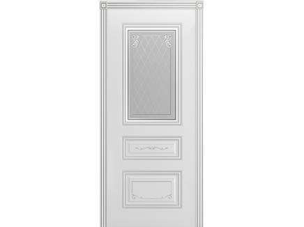 Двери межкомнатные Cordondoor Эмаль ТРИО ГРЕЙС B2 Белая эмаль патина сереброст. Узор 2