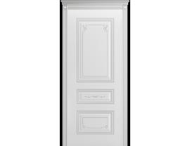 Двери межкомнатные Cordondoor Эмаль ТРИО ГРЕЙС B2 ДГ Белая эмаль патина серебро