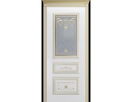 Двери межкомнатные Cordondoor Эмаль ТРИО КОРОНА В3 Белая эмаль патина белое золото ст. Узор 2