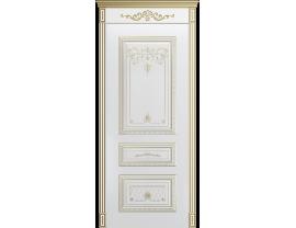 Двери межкомнатные Cordondoor Эмаль ТРИО КОРОНА В3 ДГ Белая эмаль патина белое золото