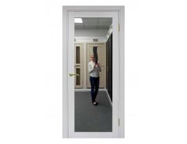 Двери межкомнатные Optima Porte 501.1 зеркало ясень серебристый