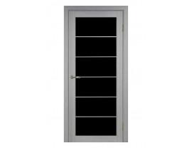 Двери межкомнатные Optima Porte 501.2  лакобель черн АСС мат хром дуб серый