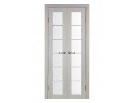 Двери межкомнатные Optima Porte 501.2 АСС хром 40+40 дуб белёный