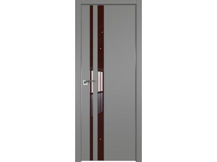 Двери межкомнатные Profil Doors 16E Грей лак коричневый CHROME MAT