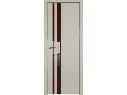 Двери межкомнатные Profil Doors 16E Шеллгрей лак коричневый CHROME MAT