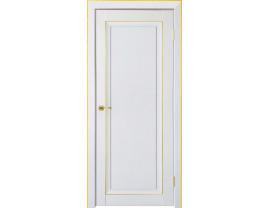 Двери межкомнатные Uberture Деканто ПДГ 2 бархат белый зол вставка и нал 1к