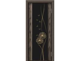 Двери межкомнатные Лайн-Дор Погонажная серия Камелия тон 39 ст. Одуванчик черный триплекс