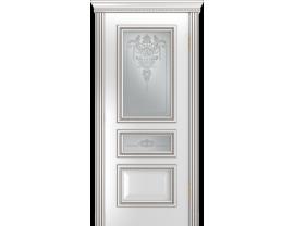 Двери межкомнатные Лайн-Дор Серия Color Агата Д белая эмаль патина серебро ст. Версаль светлое наливка прозрачная