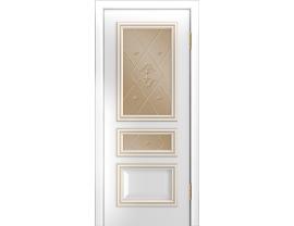 Двери межкомнатные Лайн-Дор Серия Color Агата белая эмаль патина белое золото ст. Прима бронза