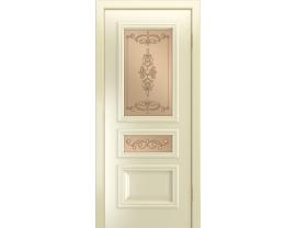 Двери межкомнатные Лайн-Дор Серия Color Агата эмаль Бисквит ст.Эрика бронза