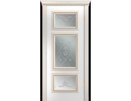 Двери межкомнатные Лайн-Дор Серия Color Афина Д Белая эмаль патина золото ст. Прима светлое