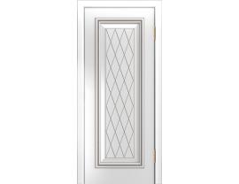 Двери межкомнатные Лайн-Дор Серия Color Валенсия Д глухая Белая эмаль патина серебро фрезеровка Лондон патина серая