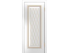 Двери межкомнатные Лайн-Дор Серия Color Валенсия Д глухая Белая эмаль патиназолото фрезеровка Лондон патина золото