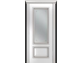 Двери межкомнатные Лайн-Дор Серия Color Виолетта Д Белая эмаль патина серая ст. Соло светлое