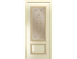 Двери межкомнатные Лайн-Дор Серия Color Виолетта Д эмаль Бисквит патина золото ст. Пальмира бронза