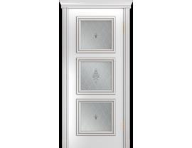 Двери межкомнатные Лайн-Дор Серия Color Грация Д Белая эмаль патина серая ст. Лилия светлое